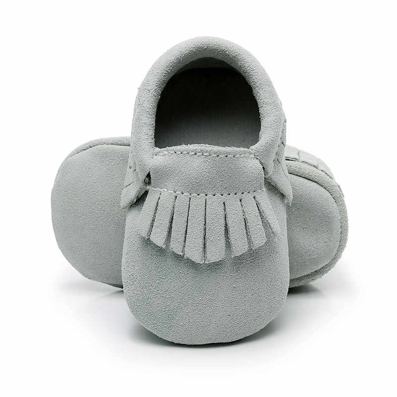 ของแท้หนังนิ่มหนังเด็กทารกรองเท้าแตะ Fringe first walkers 0-24 M เด็กชายหญิงรองเท้านุ่ม soled 2019 ขายร้อน