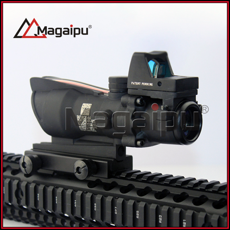 New Arrival Trijicon ACOG Style 4X32 Real Red Fiber Source Red Illuminated Rifle Scope w/ RMR Micro Red Dot HT6-0058 tactical trijicon acog style 4x32 real fiber optics red illuminated crosshair scope w rmr micro red dot hunting riflescopes