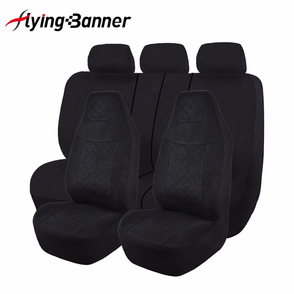 Speckled Velvet Fabric Car Seat Cover Universal Full Set Fit Most Auto Interior Accessories Sedans Black