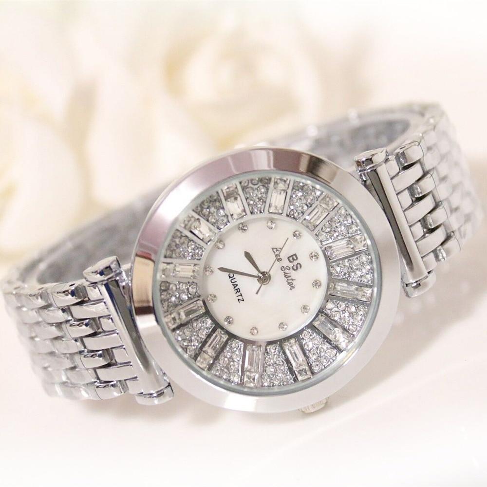 f9e8a8beb02e Nueva marca de fábrica famosa de las mujeres diamante banda de acero reloj  de señora joyería de lujo vestido reloj rhinestone pulsera brazalete de  cristal ...