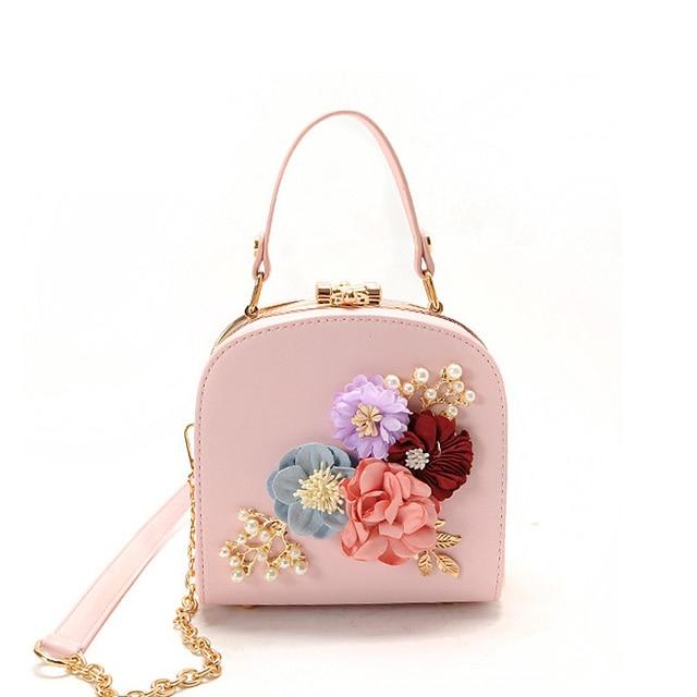 Women Fashion Stereo Flowers Shoulder Bag Ladies Small Vintage Tote Bag  Purse Chain Handbag Messenger Bag Clutch Bag for Girls 432b355f156f9