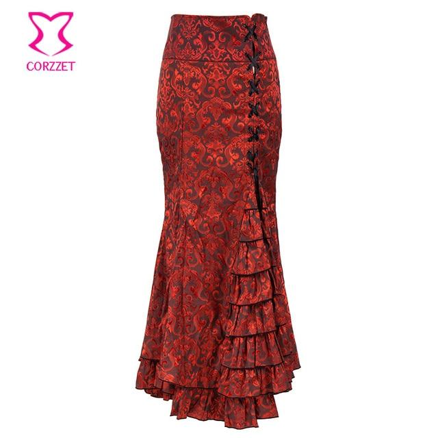 Vintage Victorian rojo patrón sirena Falda larga encaje hasta volantes cola  de pez Bodycon Maxi falda 61348eb087a7