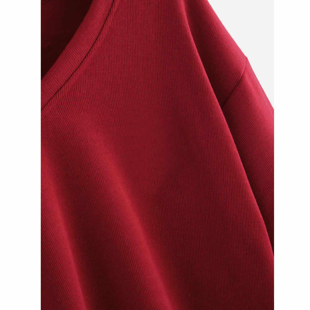 Dropship חולצה נשים ארוך שרוול סוודר V צוואר סווטשירט נשים בסוודרים חולצות אופנה קצר מוצק חולצות מלא חולצה 0309