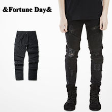 2018 hip-hop Men Jeans Male Casual Straight Denim distressed Men's Slim Jeans pants Brand Biker jeans skinny ripped jeans(China)