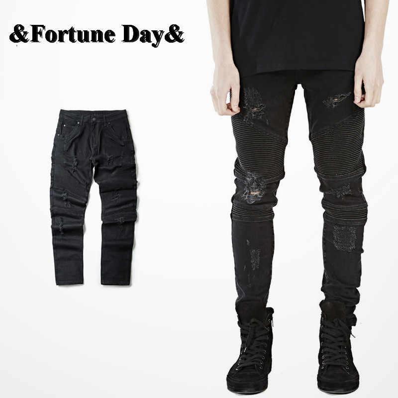 2018 хип-хоп Для мужчин джинсы мужской Повседневное прямые джинсовые проблемных Для Мужчин's Зауженные джинсы Штаны брендовые байкерские джинсы Узкие рваные джинсы