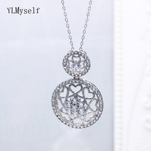 Luxury 925 Sterling Silver Pendant Necklace Round shape Plaid flower design Suspension Jewellery Female Fine Jewelry