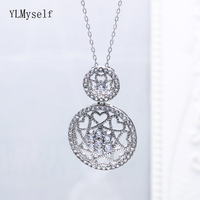 Luxury 925 Sterling Silver Pendant Necklace Round shape Plaid flower design Silver Suspension Jewellery Female Fine Jewelry