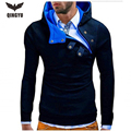 2016 New Arrival Gary Cotton Men Winter Hoodies Villus Male Sweatshirts High Quality Askew Button Hooded Brands Men's Coat XXXL