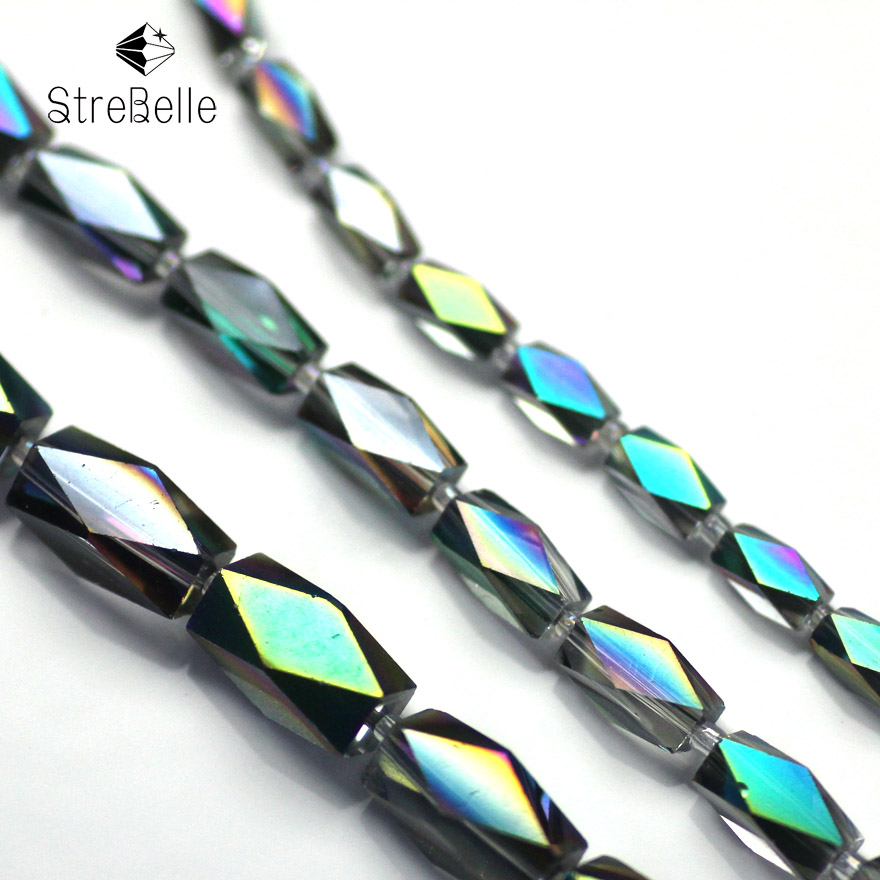 AAA Fashion machine plated green beads crystal glass jewelry diy beads 4x8mm 6x12mm 16x8mm in Beads from Jewelry Accessories