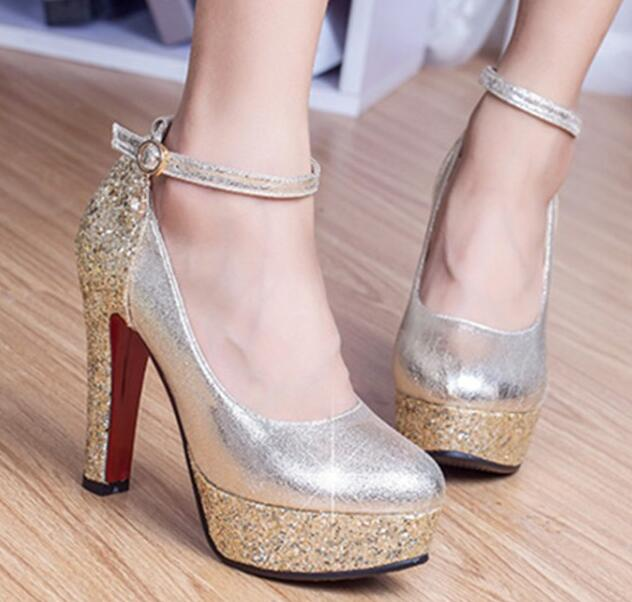Fashion High Heeled Shoes Thick Heel Platform Paillette
