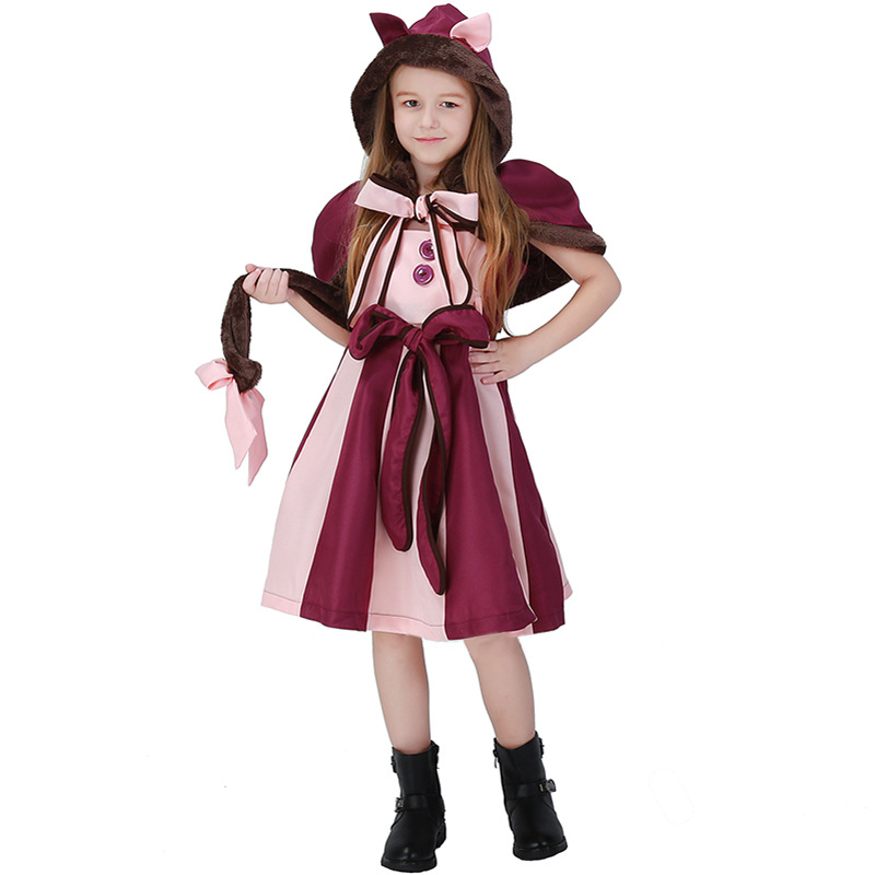 Hot Sale Purple Girls Wonder Cat Cosplay Clothing Movie Alice In Wonderland Kids Halloween Costume