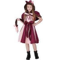 Venda quente Roxo Meninas Maravilha Filme Alice No País Das Maravilhas Gato Cosplay Roupas Crianças Traje de Halloween