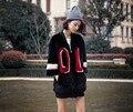 Arlene sain women Two sides wear fashion letter merino wool fur fur overcoat female free shipping
