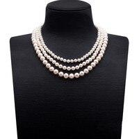 JYX натуральный жемчуг Цепочки и ожерелья тройной нити разного размера круглый белый пресноводный жемчуг Цепочки и ожерелья 18