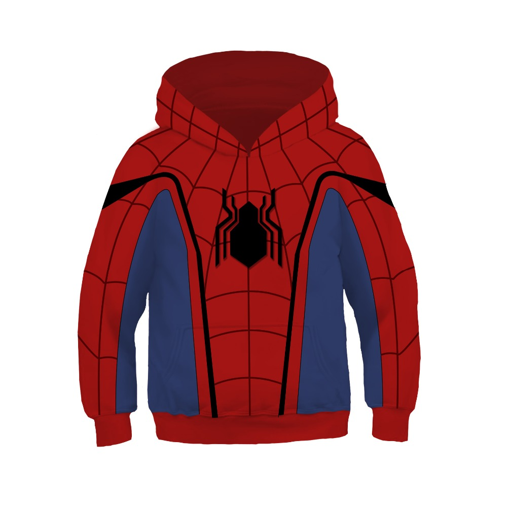 Kids Boys Home coming Spider-man Cosplay Costumes Hoodies Fashion Spider-man Pullover Superhero Sweatshirt Party Event Costumes