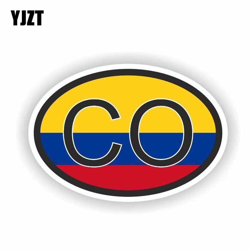 YJZT 14CM*9.3CM Creative Flag COLOMBIA CO Car Sticker Accessories PVC Decal 6-0247