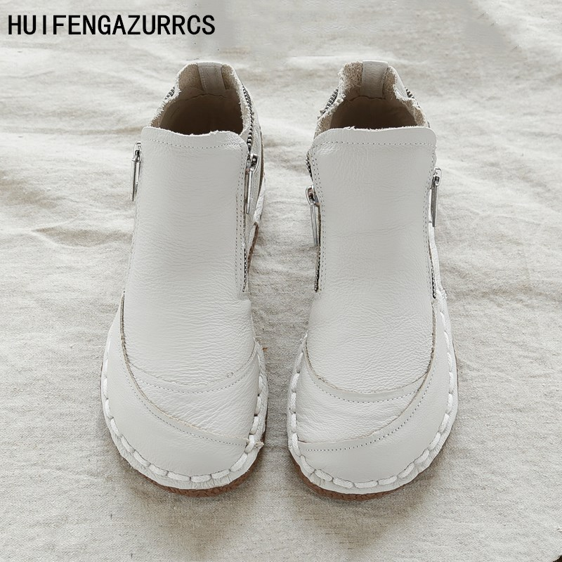 HUIFENGAZURRCS-The real leather boots with art retro soft bottom shoes,pure handmade short boots and ankle boots round boots huifengazurrcs female art retro real