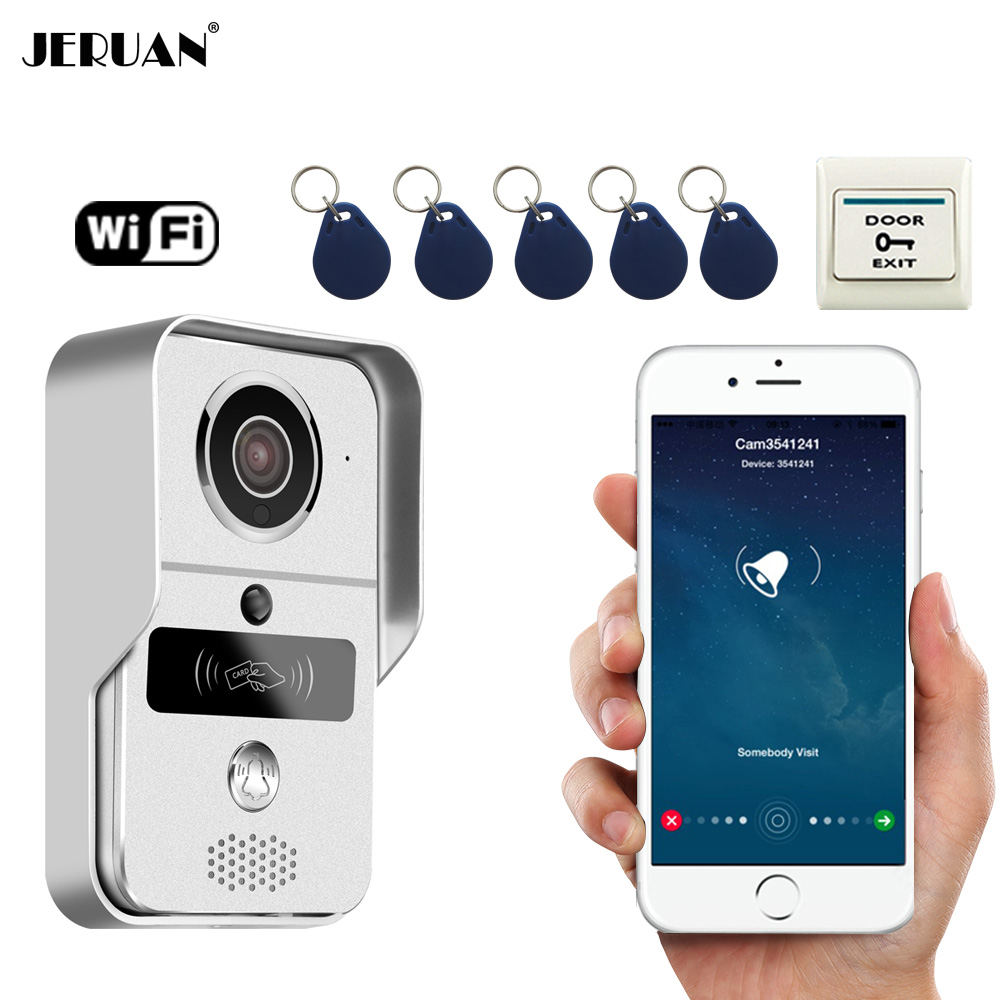 JERUAN Smart 720P Wireless WiFi Video Door phone Intercom Record Doorbell For Smartphone Remote View Unlock IOS Android In stock jcsmarts rfid access wireless wifi ip doorbell camera video intercom for android ios smartphone remote view unlock with sd card