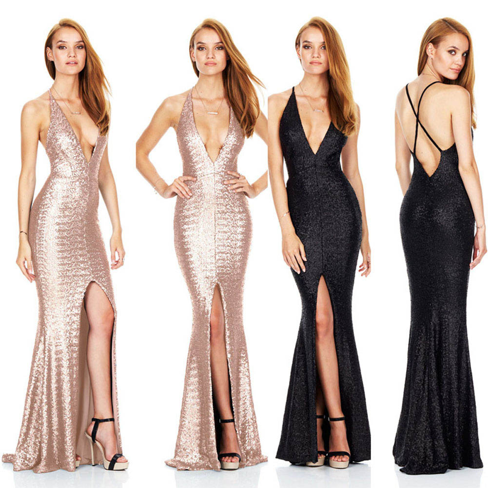New Arri Long Sexy Deep V Halter Backless Split Sequins Banquet Elegant Lady Floor length Party Prom Gowns Dresses in Dresses from Women 39 s Clothing