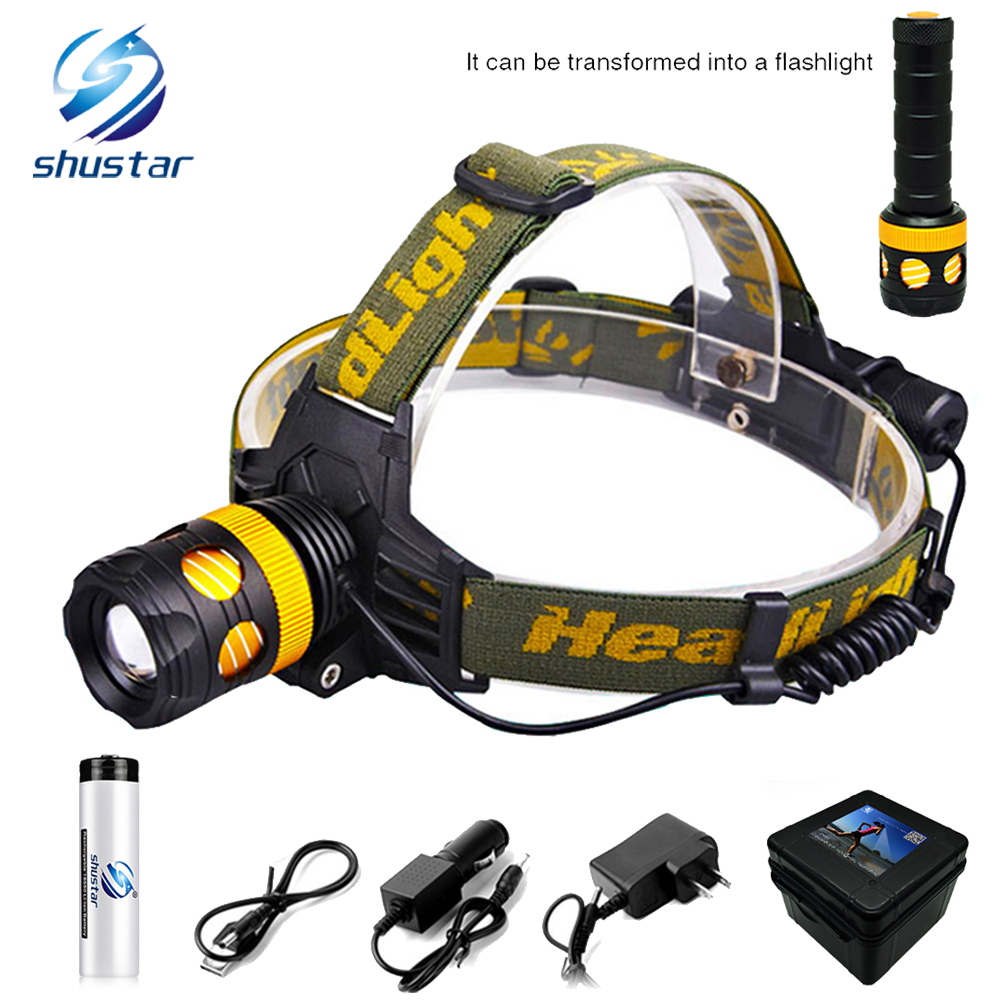 Super lumineux LED Projecteur 8000 lumens LED Rotatif phare zoom 3 modes d'éclairage camping lampe Amovible dans une lampe de poche