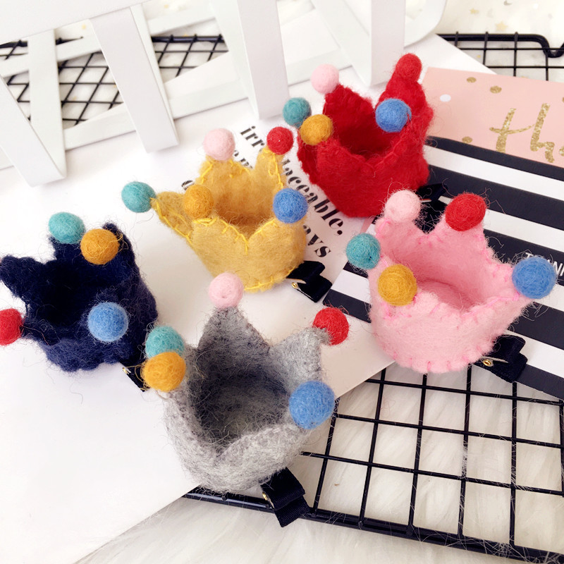 Korea Colorful Woolen Candy Crown Hairpins Little Ball Hair Accessories For Girls Hair Clips Bow Hairgrips