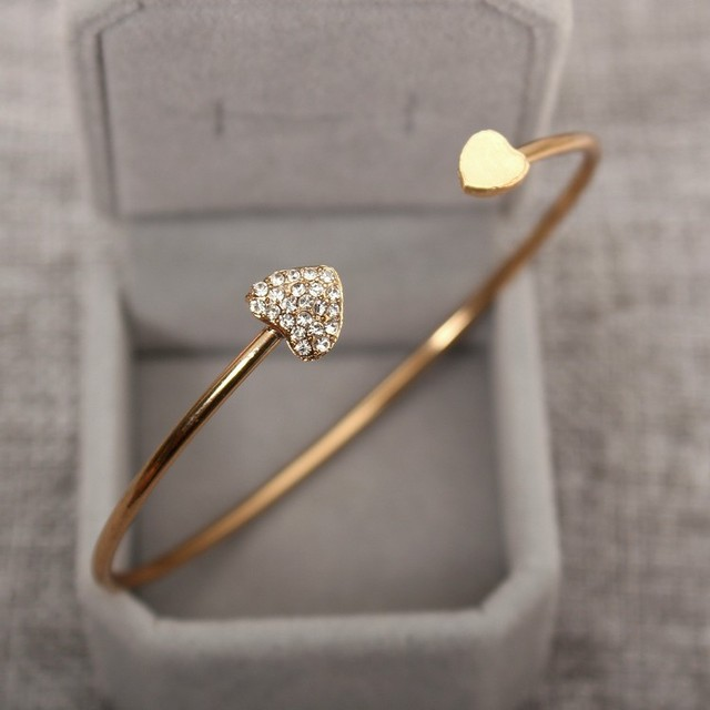 2018 Hot New Fashion Adjustable Crystal Double Heart Bow Bilezik Cuff Opening Br