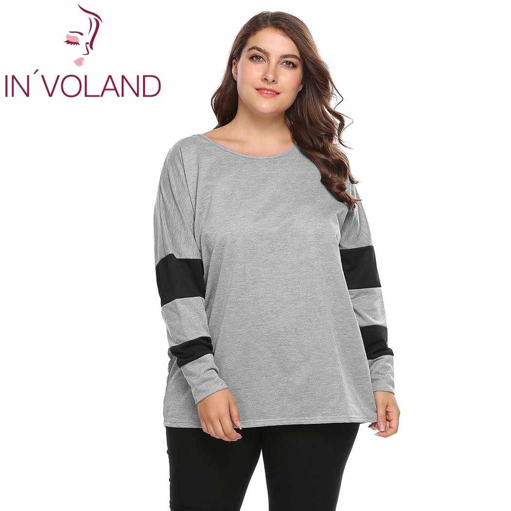 Camiseta para mujer talla grande 4XL de IN'VOLAND, Tops de otoño primavera con manga de murciélago, Jersey holgado informal de retales, camisetas de gran tamaño
