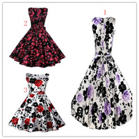 free shipping ladies cheap 1950s floral hepburn style rockabilly pin up dress S 2XL