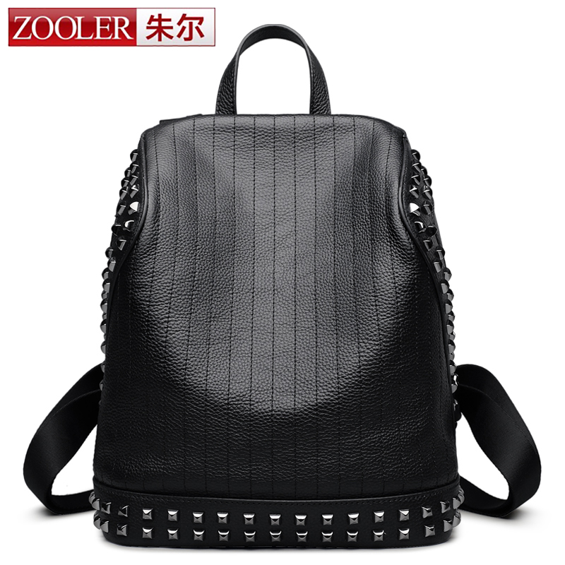 woman bag!ZOOLER genuine leather backpack girl/women new rivet designed backpacks real leather Brand large capacity bag #6195 zooler genuine leather backpacks 2016 new real leather backpack for men famous brand china hot large capacity hot 65055
