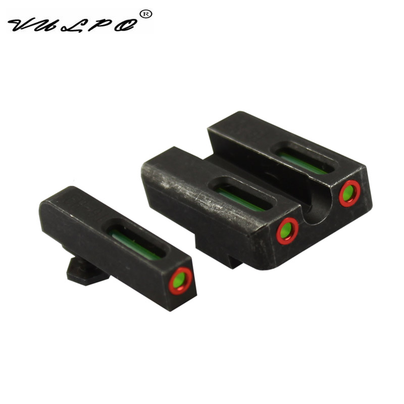 VULPO Handgun Sight Steel Made Red Green Fiber Optic Front And Rear Sight For Glock