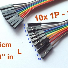 """500 шт 26 см(1"""") Длина дуплексный кабель 1 p 1 p Pin Header 2,54 мм 1"""" шаг"""