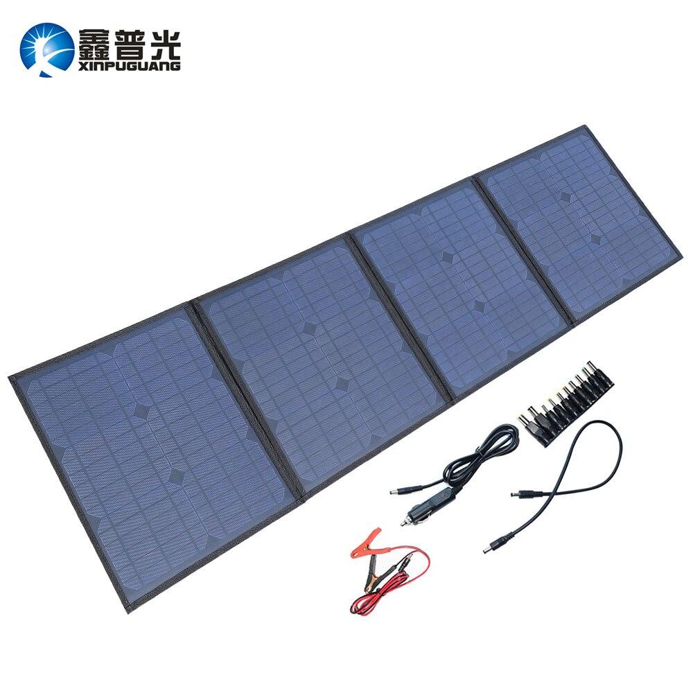 Xinpuguang Caricatore del Pannello Solare 80 w 9 v 18 v Pieghevole Portatile Nero Impermeabile In Tessuto Accumulatori e caricabatterie di riserva Del Telefono 12 v Batteria dual USB 5 v 2A