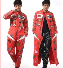 S-5XL!!!  2017 one of a kind red fabric one piece leather clothing  cloak Fashion men's motorcycle hand clothing