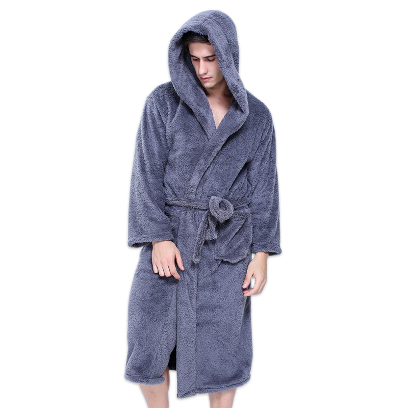 Plus size XXL hooded robes bathrobes for male Winter Keep warm long sleeved exquisite plush mens
