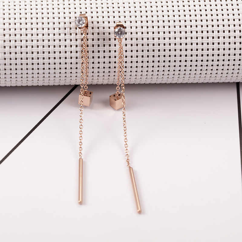Stainless Steel Multi-layer Tassel Earrings Rose Gold Color Square Chains Round Bar Long Earring brincos para as mulheres
