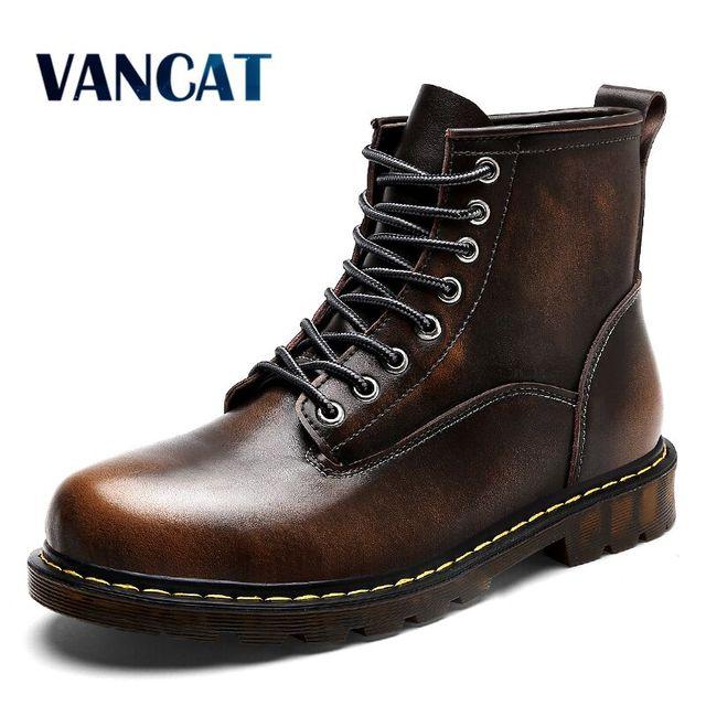 Vancat высокое качество из натуральной кожи осень Мужские ботинки зимние водонепроницаемые полусапожки ботинки martin открытые рабочие ботинки Мужская обувь