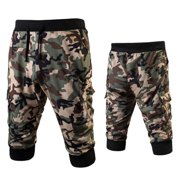 Summer Mens Cargo Pants Camouflage Baggy Casual Cool Trousers Graffiti Military Style Men Cotton Loose Calf Length Pants Harem