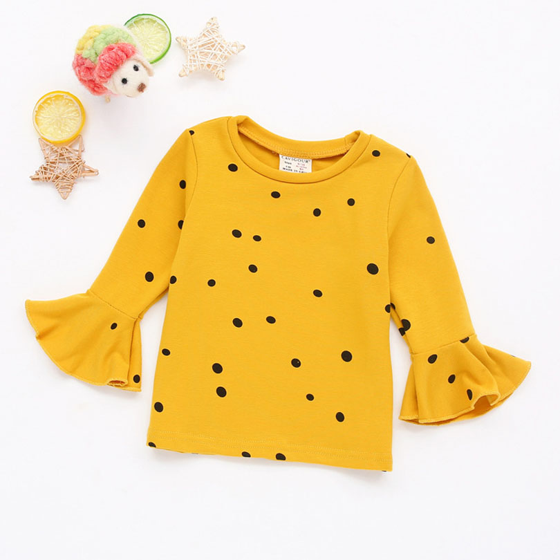 Autumn Baby Girls Basic Shirts Polka Dot Tops Girl Children Clothes Cotton Long Sleeve Kids Girls T Shirt Girls Wear Toddler цена 2017
