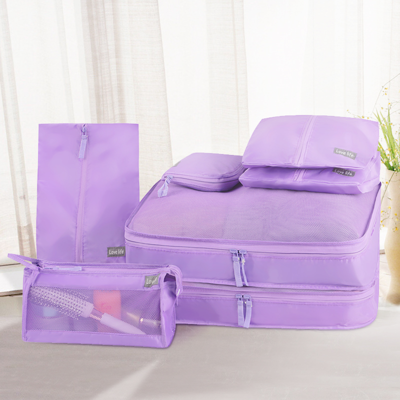 QUBABOBO Foldable Storage Bags Portable Twill Mesh Underwear Cosmetics Organizer 7 Pcs Travel Pouch Luggage Organizer Tidy Boxes