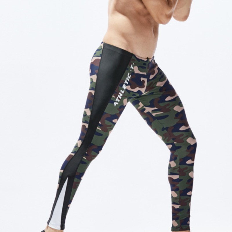 Camouflage Compression Tights Men Running Tights Mens Sport Leggings Workout Yoga Training Leggins Man Sportswear Tight Trousers
