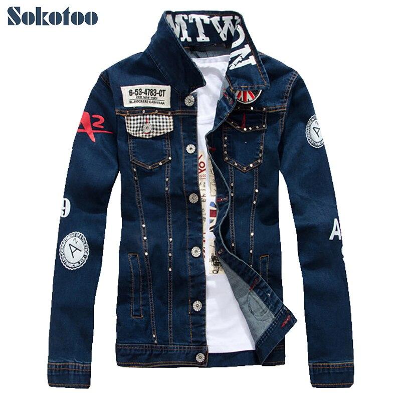 Sokotoo hommes slim drapeau anglais patch design rivet jean veste décontracté bleu foncé lavé denim manteau survêtement