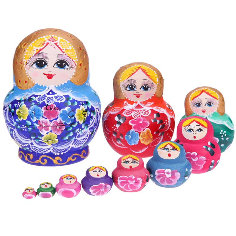 10pcs/set Wooden Round Belly Flower Russian Matryoshka Doll DIY Woodcraft Hand Painted Nesting Dolls for Girls Gift