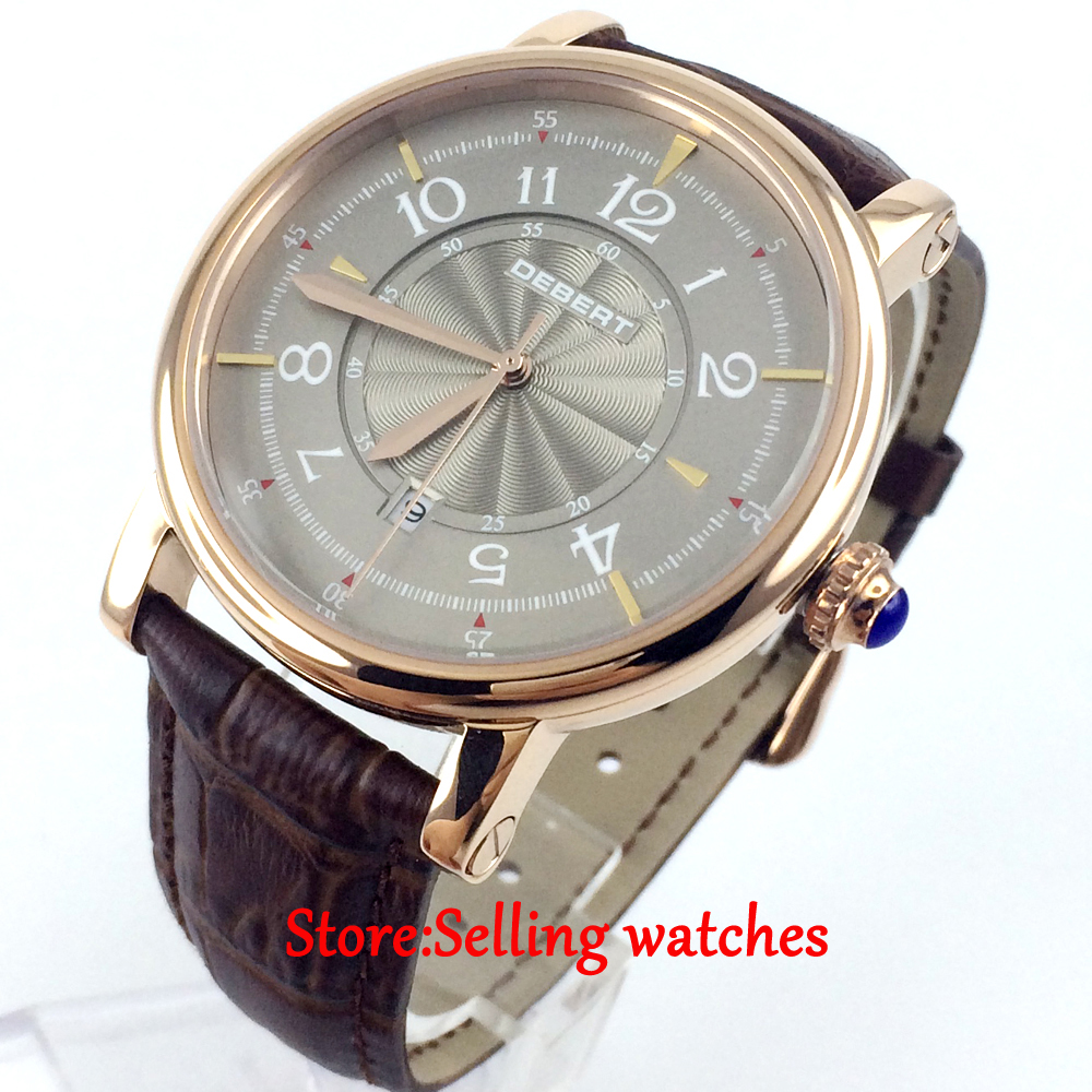 купить 43mm debert gray dial rose case 21 jewels miyota Automatic mens wrist Watch недорого