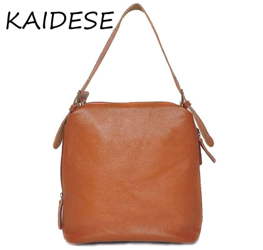 KAIDESE fashion leisure lady bag, leather head layer cowhide, shoulder shoulder bag, litchi pattern, large capacity handbag