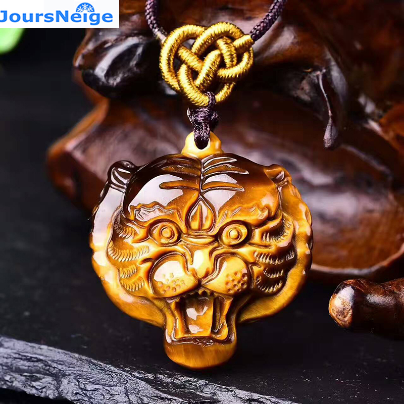 JoursNeige Natural Yellow Tiger Eye Stone Pendant Tiger Head Hand Made Pendants Necklace For Women Men pendants Animal Shape fashion tiger shape 10cm width wacky tie for men