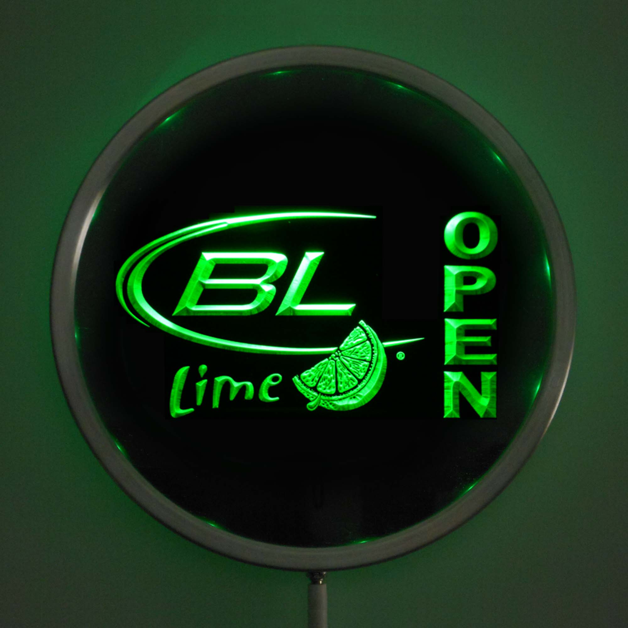 rs-0073 Bud <font><b>Light</b></font> Lime OPEN LED Neon Round Signs 25cm/ 10 Inch - Bar Sign with RGB Multi-Color Remote Wireless Control Function