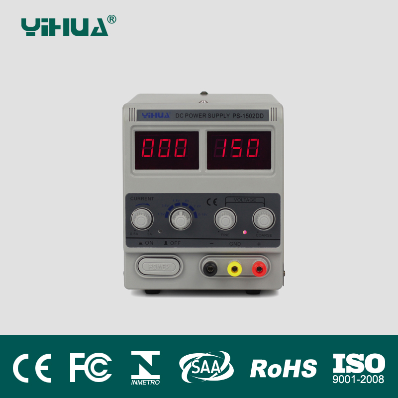 Free Shipping 220V YIHUA 1502DD 15V 2A Adjustable DC Power Supply LED Display Mobile phone repair test regulated power supply yihua 3010d 30v 10a adjustable regulated dc power supply for computer mobile phone repair test