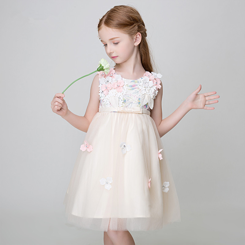 купить Girls Pageant Dress for Wedding Prom Party tutu Princess Dress Sleeveless Knee-lenth Ball Gown Bow Flower Girl Dresses дешево