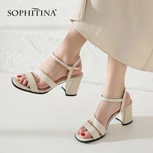 SOPHITINA New Women's Sandals Comfortable High Quality Cow Leather Fashion Ankle Wrap Shoes Sweet St