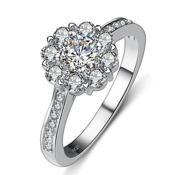 2017 Nový příchod Super lesklý CZ zircon Valentines Gift 925 mincovní stříbro ženy snubní prsten dámské prsteny HOT